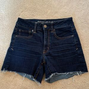 AE Dark Wash Super Stretch Cutoff Jean Shorts